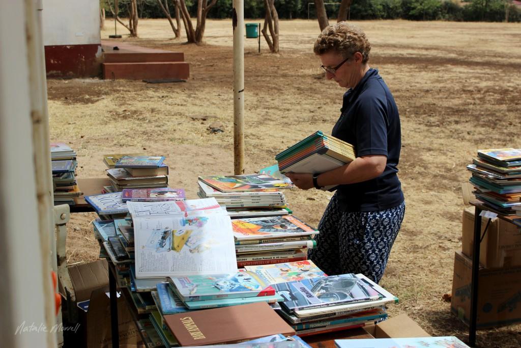 Glenys sorting books